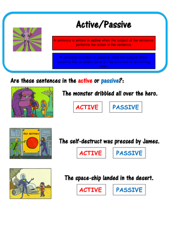 super grammar active and passive voice spag by lastingliteracy teaching resources. Black Bedroom Furniture Sets. Home Design Ideas