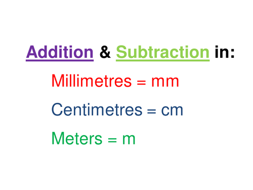 addition and subtraction of lengths in mm, cm and m by sanazafar ...