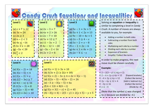 Candy Crush Equations and Inequalities