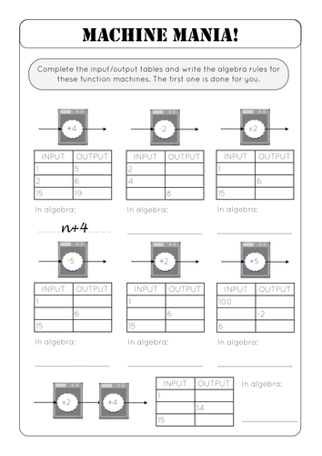 Worksheet Function Machine Worksheet machine mania function machines by richardtock teaching resources tes