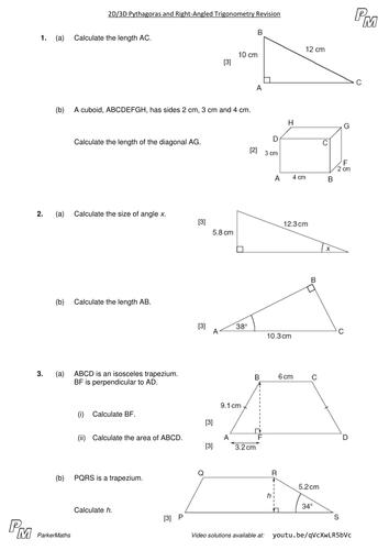 2d3d Pythagoras Right Angled Trigonometry Higher Gcse Exam