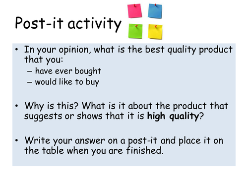 Managing Quality - GCSE Business