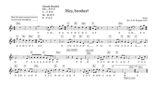 Hey, brother - Avicii - melodic lead sheet by trump3tandy - Teaching ...