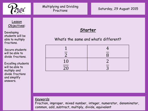 Multiplying and Dividing Fractions by PixiMaths Teaching – Dividing Fractions Worksheet with Answers