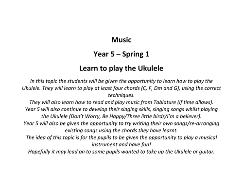 How To Play The Ukulele By Iamsomewhere Teaching Resources Tes