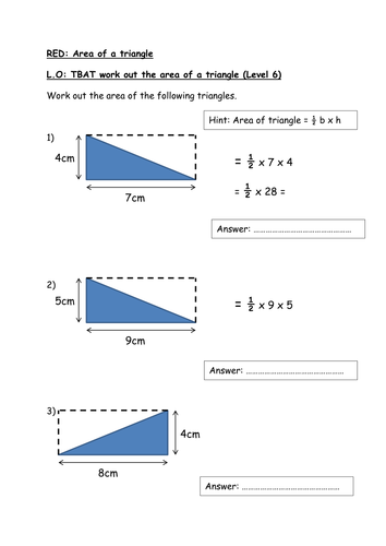 Finding The Area Of A Triangle By Rishnas Teaching Resources Tes