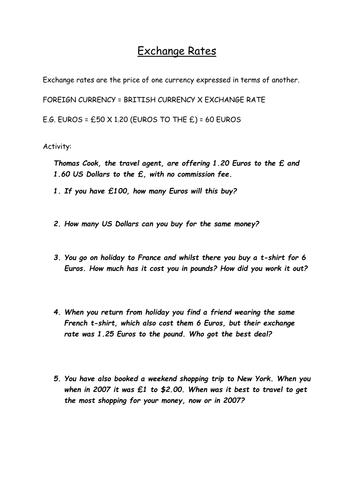 exchange rates worksheet by busecongeog teaching resources tes. Black Bedroom Furniture Sets. Home Design Ideas