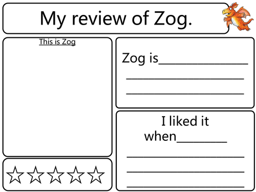 Zog Story Review Sheet 11021784 on Worksheets For Kindergarten About Writing