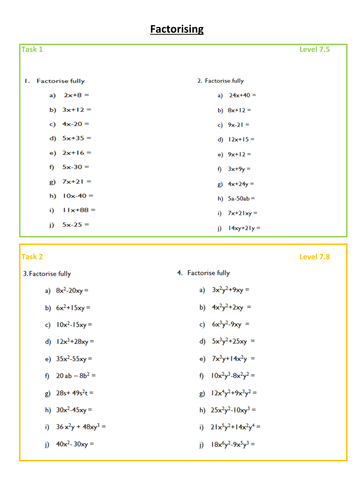 Factorising worksheet - Differentiated, levelled and with answers on slides