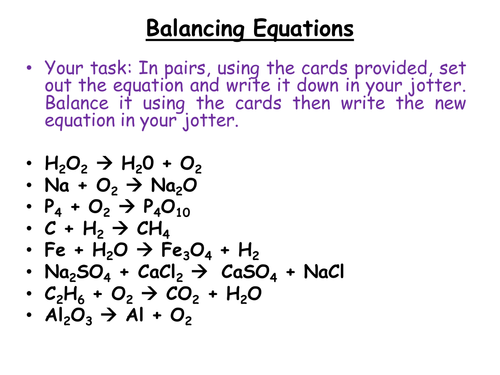 Chemistry Balancing Chemical Equations by jamjar87 Teaching – Chemistry Balancing Chemical Equations Worksheet