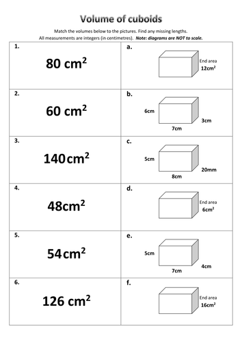 Volume of cuboids - match cards by madalien | Teaching Resources