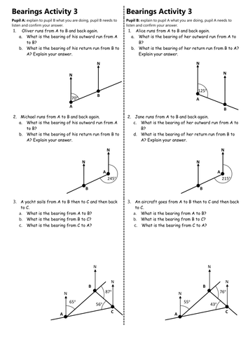 Calculating Bearings (Worksheets with Answers) by ...
