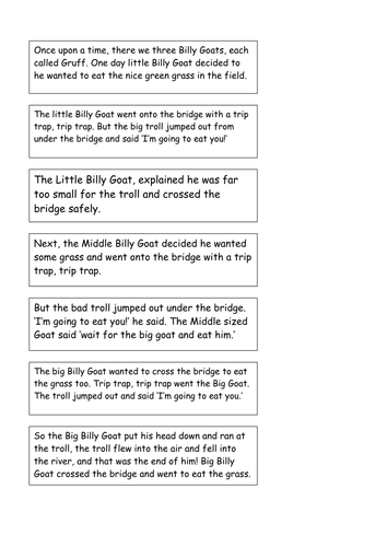 Three Billy Goats Gruff story to sequence by EmilyMilne - Teaching ...