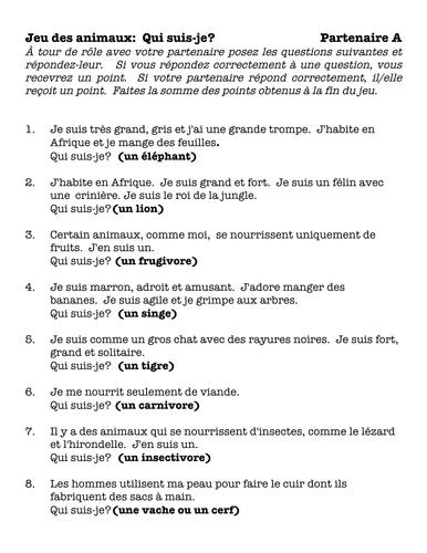 French Animals Speaking Activity & Game