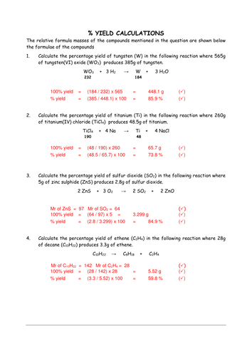 Percentage Yield Calculations By Chemschooltv Teaching