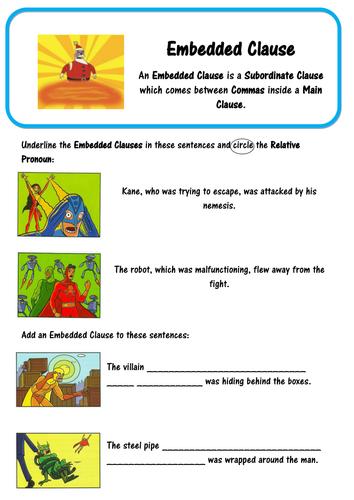 Super Grammar - Embedded Clause - SPaG by lastingliteracy | Teaching ...