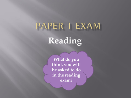 Introduction to Paper 1 iGCSE English