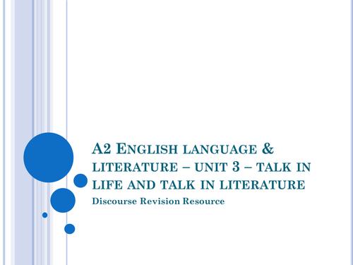 AQA English Language & Literature AQA Spec B - Discourse revision