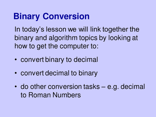 Binary/Decimal Conversion