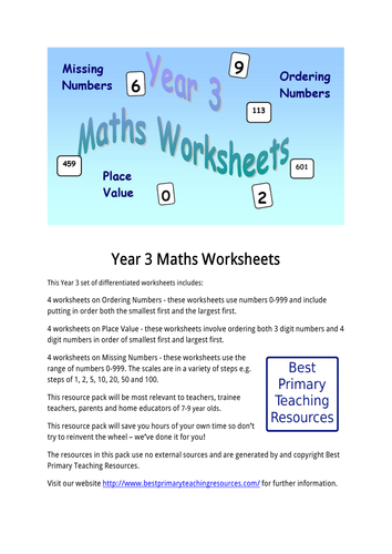 Maths Worksheets Year 3