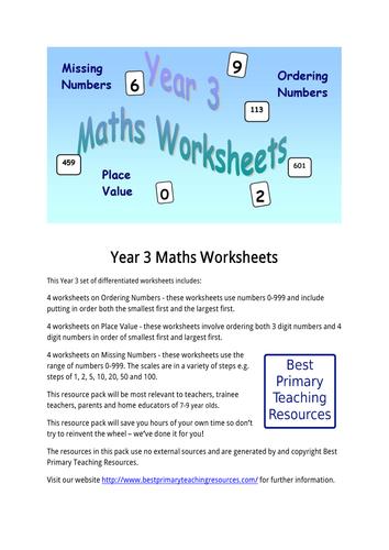 Maths Worksheets Year 3 By Bestprimaryteachingresources Teaching
