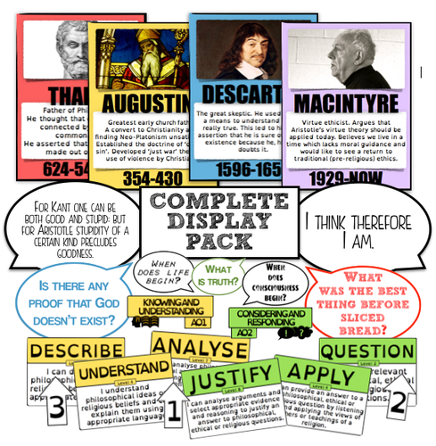 Modern Classroom Display ~ Complete re philosophy classroom display pack by