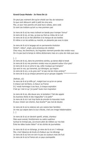 Paroles grand corps malade rencontres lyrics