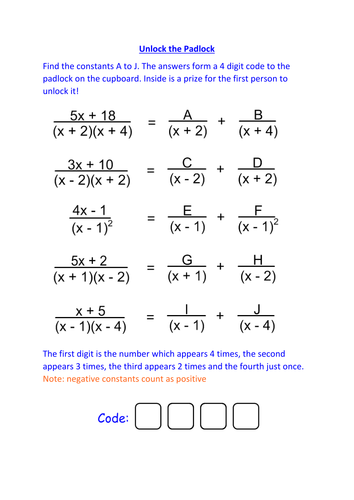 c partial fractions  unlock the padlock by jamesbeltrami  c partial fractions  unlock the padlock by jamesbeltrami  teaching  resources  tes