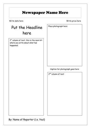 Newspaper Writing KS2