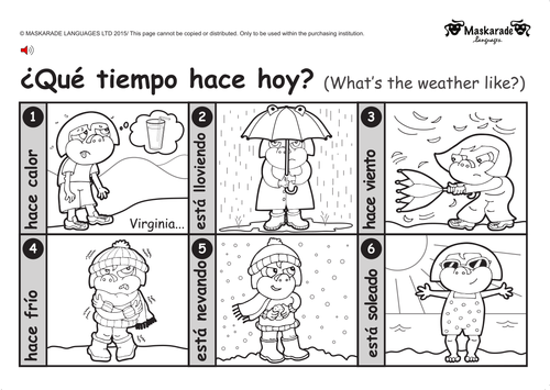 KS1SPANISH Level 1 Clothes Weather Holiday by – Spanish Weather Worksheet