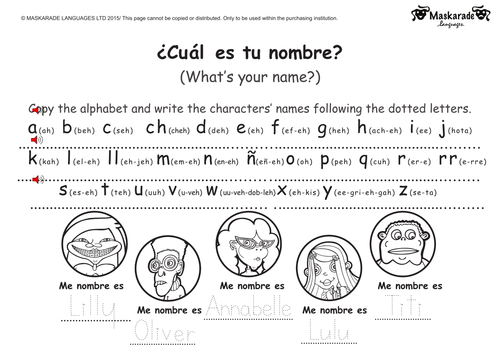 KS1 Level 2 SPANISH Greetings by maskaradelanguages Teaching – Spanish Greetings Worksheet