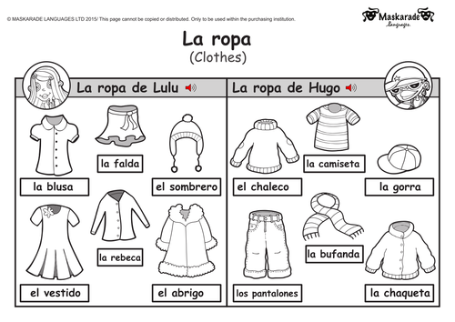 ks1 spanish clothes by maskaradelanguages teaching resources tes. Black Bedroom Furniture Sets. Home Design Ideas