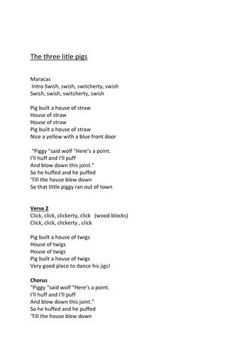 The Three Little Pigs Lyrics - Storytime Songs