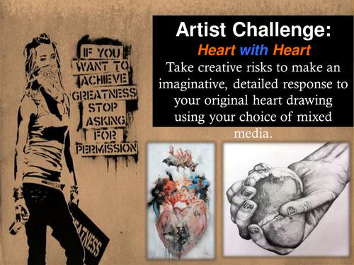Mixed-Media Heart drawing GCSE Art