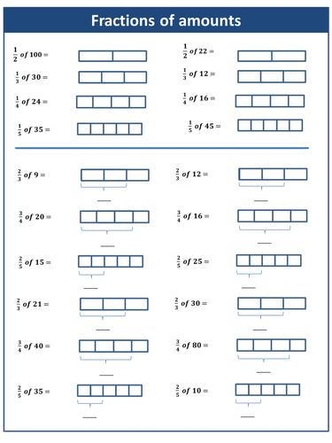 fractions of amounts worksheet by harryjob teaching resources. Black Bedroom Furniture Sets. Home Design Ideas