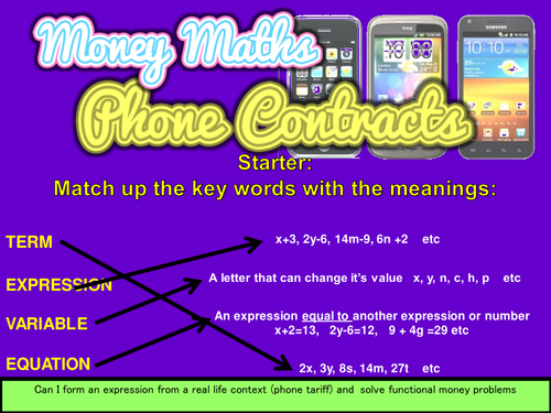 Functional Money Maths Mobile Phone Tariffs Form An Expression And