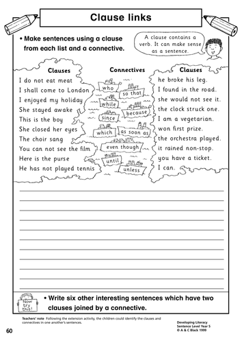 Worksheet for sentence clause links - KS2