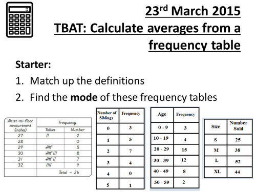 Finding mean from frequency table FULL LESSON by Morgan93 – Two Way Frequency Tables Worksheet
