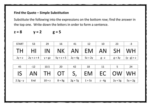 Find the Quote Algebra - Simple Substitution