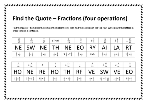 Find the Quote Number - Fractions - Four Operations