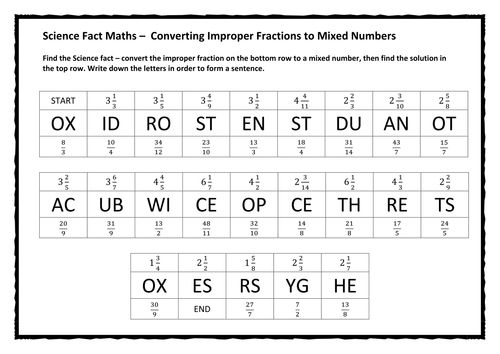 Fraction Converting Mixed Numbers To Improper Fractions – Improper to Mixed Fractions Worksheet