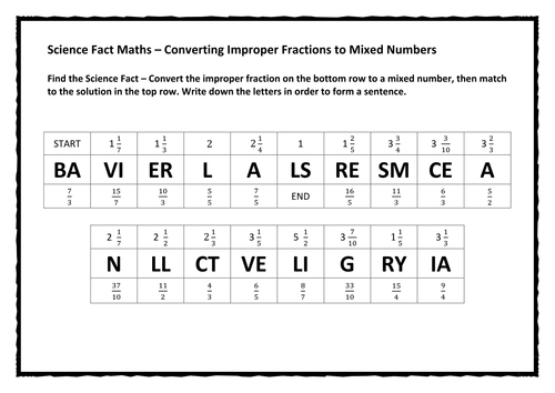 Science Fact Maths Converting Improper Fractions to Mixed – Mixed Fractions to Improper Fractions Worksheets