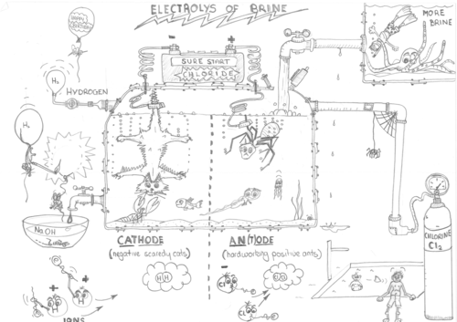 Electrolysis of Brine Revision Cartoon and Label Sheet by