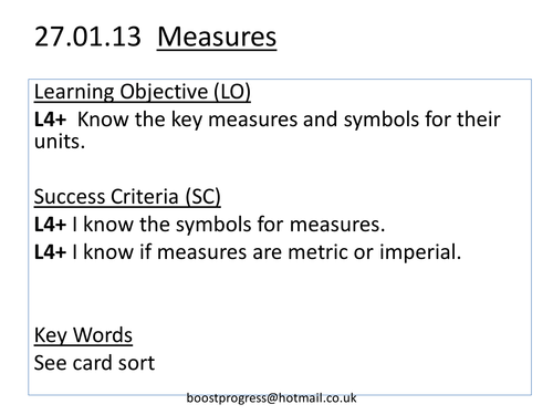 Mathematics of Measures I - Units and Lengths L4+