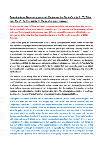 A Of Mice And Men Controlled Assessment Exemplar By Stevenoyce  A Of Mice And Men Controlled Assessment Exemplar By Stevenoyce  Teaching  Resources  Tes