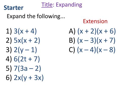 Factorising Quadratics Lesson(s)