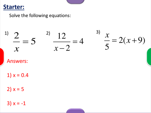Solving Algebraic Fractions