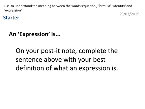 Identifying Expressions, Equations, Identities and Formulae