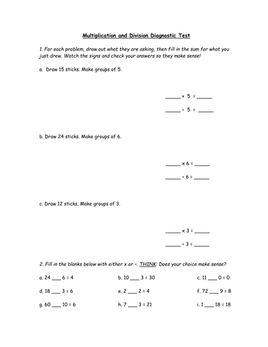 Diagnostic Test - Multiplication and Division (FREE)