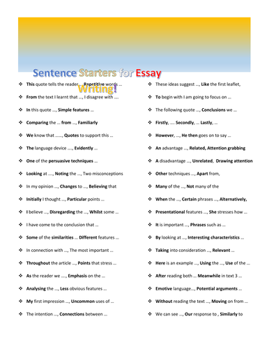 Sentence starters for essay writing by missprodigy teaching